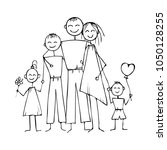 kids sketch happy family.... | Shutterstock .eps vector #1050128255