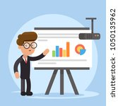 businessman and graphs on... | Shutterstock .eps vector #1050135962
