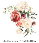 Stock photo  watercolor flowers floral illustration leaf and buds botanic composition for wedding or 1050141836
