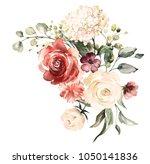 watercolor flowers. floral...   Shutterstock . vector #1050141836