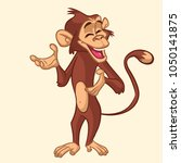 cartoon excited  monkey smiling.... | Shutterstock . vector #1050141875