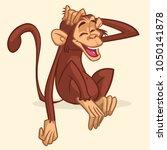 cartoon monkey sitting.... | Shutterstock . vector #1050141878