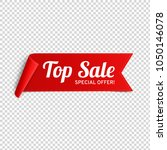 red  paper banner for top sale. ... | Shutterstock .eps vector #1050146078