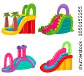 inflatable water slides for... | Shutterstock .eps vector #1050152255