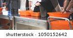 passengers queue on the line...   Shutterstock . vector #1050152642