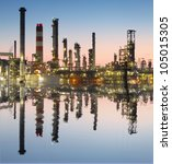 oil and gas refinery with... | Shutterstock . vector #105015305