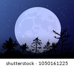 the moon against the blue of... | Shutterstock .eps vector #1050161225
