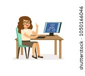 girl sitting at computer  pupil ... | Shutterstock .eps vector #1050166046