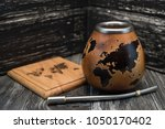 calabash and bombilla for yerba ... | Shutterstock . vector #1050170402