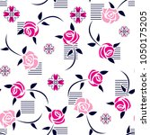 roses pattern with leaves on...   Shutterstock .eps vector #1050175205