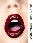 mouth open  glossy lips ... | Shutterstock . vector #1050176705