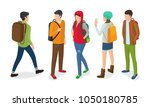 set of boys and girls with...   Shutterstock .eps vector #1050180785