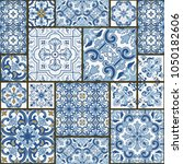 majolica pottery tile  blue and ... | Shutterstock .eps vector #1050182606