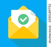 envelope with document and... | Shutterstock .eps vector #1050189752