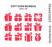 gift icon solid vector pack...