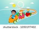 illustration of stickman kids... | Shutterstock .eps vector #1050197402