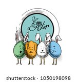 easter bunny and easter eggs ...   Shutterstock .eps vector #1050198098