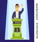 game show player   cartoon... | Shutterstock .eps vector #1050198398