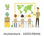 geography lesson at school  ... | Shutterstock . vector #1050198446