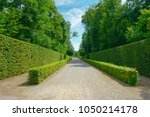 high hedges in the city park in ... | Shutterstock . vector #1050214178