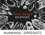 vector frame with sausages on... | Shutterstock .eps vector #1050216572