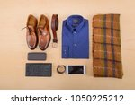 set of clothes and various... | Shutterstock . vector #1050225212