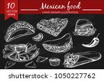 vector set with mexican food on ... | Shutterstock .eps vector #1050227762