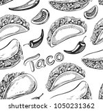 seamless pattern with taco icons | Shutterstock .eps vector #1050231362