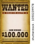 wanted western poster... | Shutterstock .eps vector #1050239978