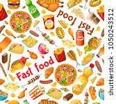 seamless pattern fast food.... | Shutterstock .eps vector #1050243512