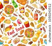 seamless pattern fast food.... | Shutterstock .eps vector #1050243512