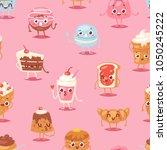 cartoon cake character vector... | Shutterstock .eps vector #1050245222