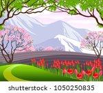 vector illustration. spring... | Shutterstock .eps vector #1050250835