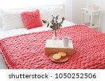 red merino wool blanket or... | Shutterstock . vector #1050252506