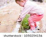 curious baby tries water in the ... | Shutterstock . vector #1050254156