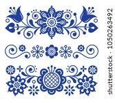 floral folk art greeting card ...   Shutterstock .eps vector #1050263492