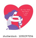 mom hugging her child boy... | Shutterstock .eps vector #1050297056