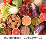 healthy organic products | Shutterstock . vector #1050299402