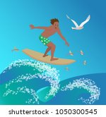 surfer is riding on ocean wave... | Shutterstock .eps vector #1050300545