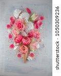 flat lay waffle sweet ice cream ... | Shutterstock . vector #1050309236