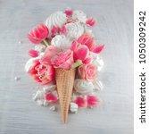 flat lay waffle sweet ice cream ... | Shutterstock . vector #1050309242