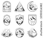 set of nine vector mountain and ... | Shutterstock .eps vector #1050316382