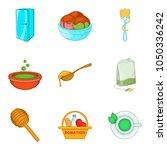 crockery icons set. cartoon set ... | Shutterstock .eps vector #1050336242