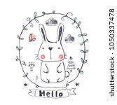 cute rabbit.cartoon hand drawn... | Shutterstock .eps vector #1050337478