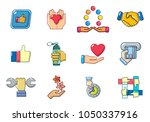 hand object icon set. cartoon... | Shutterstock .eps vector #1050337916