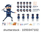 ninja in dark suit creation kit.... | Shutterstock .eps vector #1050347102