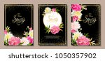 set of three floral... | Shutterstock .eps vector #1050357902
