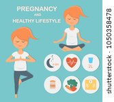 pregnancy and a healthy... | Shutterstock .eps vector #1050358478