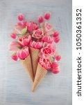 flatlay waffle sweet ice cream... | Shutterstock . vector #1050361352