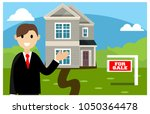 realtor doing promotion to sell ... | Shutterstock .eps vector #1050364478